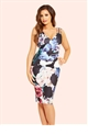 Jessica Wright Elodie Black Floral Print Pleated Midi Dress
