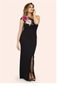 Jessica Wright Delia Black One Shoulder Flower Trim Maxi Dress