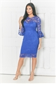 Jessica Wright Luisa Cobalt Bell Sleeve Lace Bodycon Dress