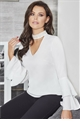 Jessica Wright Idalina White V-Neck Frill Sleeve Top