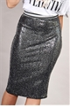 Sistaglam Loves Jessica Wright Pippa silver sequin lurex stretch skirt with waist band