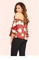 Jessica Wright Amarie Red Floral Satin Bardot Top