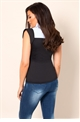 Vikki Black and Blue Bodycon Shirt Collar Top