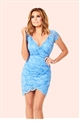 Jessica Wright Faith Blue Lace Wrap Front Bodycon Dress