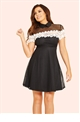 Jessica Wright Leighton Black Lace Tie Neck Skater Dress