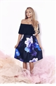 Sistaglam Tillie Satin Prom Skirt With Oversized All Over Floral Print