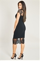 Jessica Wright Madelyn Black Lace Trim Dress With Frill Hem