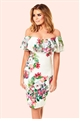 Jessica Wright Willow Off The Shoulder Floral Frill Bodycon Dress