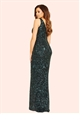 Jessica Wright Deena Black and Forest Green All Over Sequin Maxi Dress