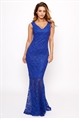 Sistaglam Lulia cobalt bardot sequin lace maxi dress with fish tail