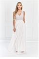 Sistaglam Yasmin White Sequin Detailed v neck top Tiered Bridesmaid Dress