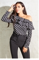 Jessica Wright Anjelika black one shoulder long sleeve satin structured polka dott top with frill