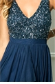 Jessica Rose Special Edition Sistaglam Yasmin Navy Sequin v neck Detailed top Tiered Bridesmaid Dress