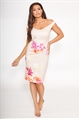 Sistaglam Loves Jessica Wright Hermione multi floral bardot bodycon midi dress