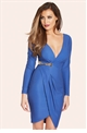 Jessica Wright Tia Blue Slinky Long Sleeved Wrap Dress