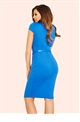 Jessica Wright Fiona Cobalt Blue Pleated Wrap Bust Bodycon Dress