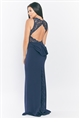 Sistaglam Loves Jessica Wright Lorani Navy maxi insert sweetheart neckline with back keyhole and bow
