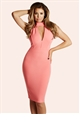 Jessica Wright Aurora Coral Midi Bodycon Dress