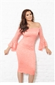 Jessica Wright Kelsea Coral Lace Off The Shoulder Bodycon Dress