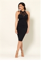 Jessica Wright Risa all over black with a lace halter neck slim bodycon dress.