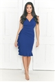 Jessica Wright Tamar Navy V Neck Wrap Ruched Side Hem Frill Midi Dress