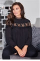 Jessica Wright Silvia black lace top high neck detail