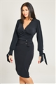 Jessica Wright Sashee Black Wrap Around Stretch Top With Blouson Sleeve
