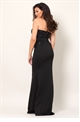 Jessica Wright Maxine VIP black sequin lace bandeau styled maxi dress.