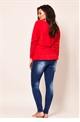 Jessica Wright Barbara red batwing long sleeve knit frilled hem jumper.