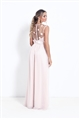 Sistaglam Elena nude high neck embellished maxi dress