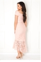 Jessica Wright Cianna blush bardot all over lace high low dress
