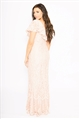 Sistaglam Loves Jessica Wright Symona Blush off the shoulder frilled all over lace maxi dress