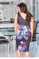 Jessica Wright Marion v neck black top with floral multi skirt bodycon dress
