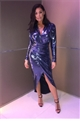 Sistaglam Loves Jessica Wright Norahe blue wrap stretch lurex dress with side split long sleeve