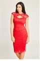 Jessica Wright Rylee Red Lace Midi Bodycon Dress With Keyhole Sweetheart Neckline And Cap Sleeve
