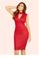 Jessica Wright Matilda Berry Sequin Lace High Neck Bodycon Dress