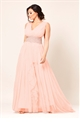 Sistaglam Alma Nude Jess Wright V-Neck Mesh Maxi Bridesmaid Dress