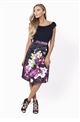 Amia Bardot Floral Print Prom Dress With Black Jersey Top from Sistaglam's occasion wear and wedding collection