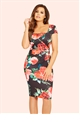 Jessica Wright Elsa Black Floral Square Neck Ruched Bodycon Dress