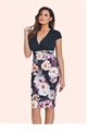 Jessica Wright Joley Multicoloured Floral V-neck Multicoloured Bodycon Dress