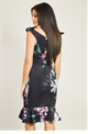 Jessica Wright Floral print bodycon frilled hem midi dress with bardot ties