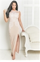 Jessica Wright Talisa Nude maxi dress with Applique trim detail