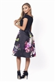 Sistaglam Amia Bardot Floral Print Prom Dress With Black Jersey Top