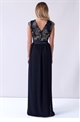 Sistaglam Christiana black maxi dress with gold detailed embroided top and a mesh skirt styled maxi dress.