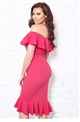 Jessica Wright Frankee Pink Off The Shoulder Double Frill Mini Dress