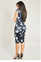 Jessica Wright Zariah Multi Floral Print Bardot Bodycon Midi Dress