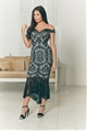 Jessica Wright Cianna black/neutral bardot lace dress with contrast lining and fishtail frill hem