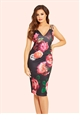 Jessica Wright Elodie Pink Floral Print Pleated Midi Dress