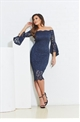 Jessica Wright Kelsea navy lace and bardot bodycon dress.