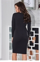 Jessica Wright Zelia black v neck lace up with long sleeves bodycon dress.